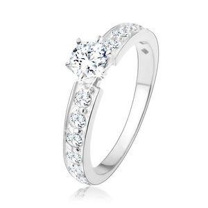 Inel de logodnă strălucitor, argint 925, linii zirconii transparente, zirconiu rotund - Marime inel: 49 imagine