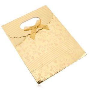 Punguţă de cadou din hârtie, suprafaţă aurie, lucioasă, inimi, spirale, dungi imagine