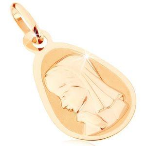 Pandantiv din aur galben 375 - medalion mat plat, lacrimă rotunjită, Fecioara Maria imagine