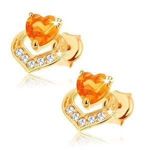 Cercei din aur galben 14K, două inimi suprapuse, citrin galben imagine