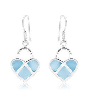 Cercei din argint 925, inimă simetrică, sidef albastru, linii argintii imagine