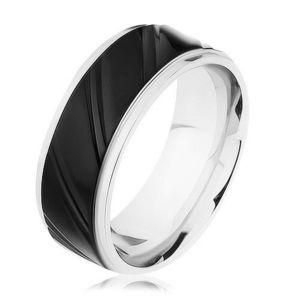 Inel din oţel argintiu cu fâșie neagră, caneluri diagonale - Marime inel: 57 imagine