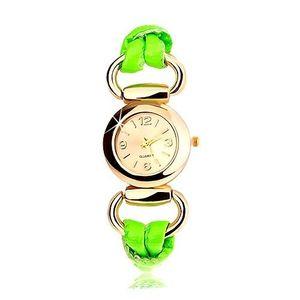 Ceas analog, ecran rotund auriu, curea din latex verde imagine