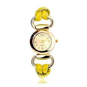 Ceas brățară, curea din latex galben, ecran rotund auriu imagine