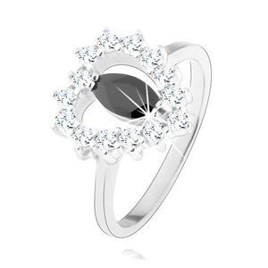 Inel din argint 925, zirconiu negru - formă de bob, contur inimă, zirconii transparente - Marime inel: 49 imagine