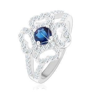Inel - din argint 925, brațe despărțite, contur transparent de floare, zirconiu albastru - Marime inel: 49 imagine