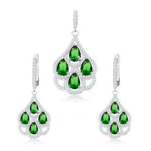 Set din argint 925, pandantiv și cercei, lacrimi din zirconii verzi, margine transparentă imagine