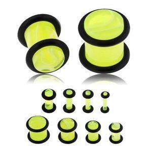 Plug din acrilic pentru ureche, galben neon, model marmură, benzi din cauciuc negru - Lățime: 10 mm imagine