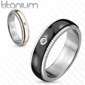 Bandă din titan, argintie, fâșie neagră cu zirconiu, caneluri, 6 mm - Marime inel: 59 imagine