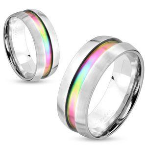 Inel din oțel argintiu, fâșie curcubeu, margini ridicate, 8 mm - Marime inel: 60 imagine