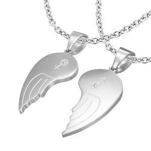 Bijuterii eshop - Pandantiv dublu din oțel 316L, aripi de înger, simbol femeiesc și bărbătesc, zirconii transparente S59.17 imagine