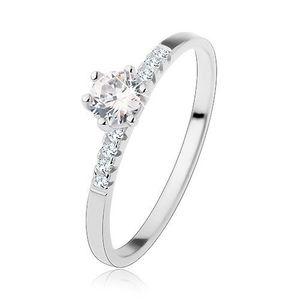 Inel de logodnă din argint 925, zirconiu rotund transparent, linii strălucitoare pe brațe - Marime inel: 48 imagine