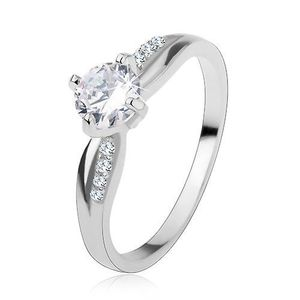 Inel de logodnă, din argint 925, linie netedă și cu zirconii, un zirconiu transparent strălucitor - Marime inel: 48 imagine