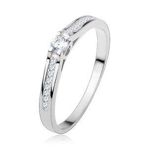 Inel din argint 925, brațe înguste lucioase, zirconii transparente - Marime inel: 48 imagine
