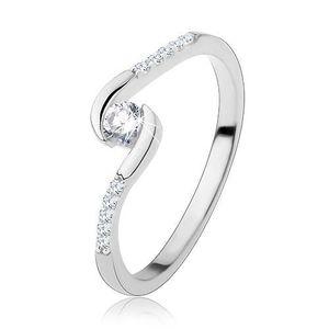 Inel de logodnă, argint 925, brațe subțiri, zirconiu rotund transparent - Marime inel: 48 imagine