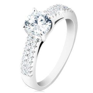 Inel de logodnă din argint 925, zirconiu rotund transparent, brațe decorate - Marime inel: 48 imagine