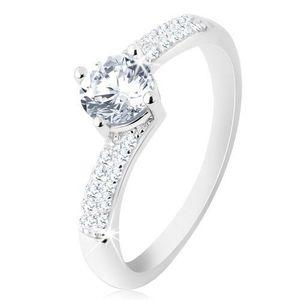 Inel de logodnă din argint 925, brațe lucioase, zirconiu rotund transparent - Marime inel: 48 imagine