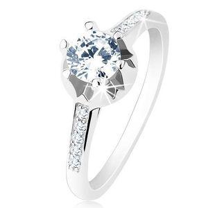 Inel de logodnă - argint 925, brațe subțiri decorate, zirconiu transparent, montură ornatăt - Marime inel: 48 imagine