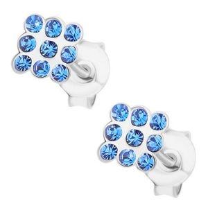 Cercei cu șurub, argint 925, cristale Swarovski albastru deschis - pătrat imagine