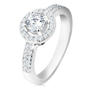 Inel din argint 925, brațe late, linie strălucitoare, montură rotundă, zirconiu șlefuit - Marime inel: 48 imagine