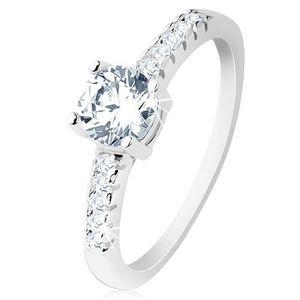 Inel de logodnă, argint 925, braţe încrustate cu zirconii, zirconiu rotund transparent - Marime inel: 49 imagine