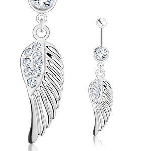 Piercing de buric - 316L, aripă de înger cu zirconii transparente, culoare argintie imagine