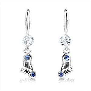 Cercei lungi, argint 925, picior lucios cu cristale albastru închis imagine