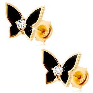 Cercei realizați din aur galben de 9K - fluture mic acoperit cu email negru, zirconiu transparent imagine
