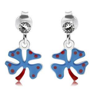 Cercei din argint 925, trifoi cu patru foi cu vopsea albastru închis, buline roşii imagine