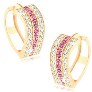 Cercei rotunzi realizaţi din aur galben de 14K - linii ondulate din zirconii transparente şi roz imagine