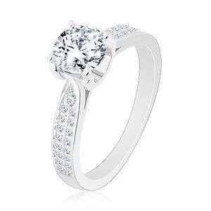 Inel de logodnă, argint 925, brațe înguste, strălucitoare, zirconiu rotund - Marime inel: 50 imagine