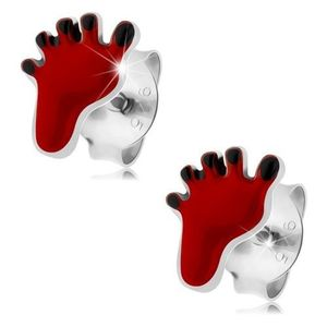 Cercei cu şurub, argint 925, amprentă roşie de picior, degete negre imagine