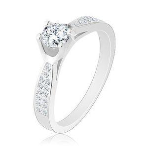 Inel din argint 925, braţe strălucitoare înguste, zirconiu rotund transparent - Marime inel: 50 imagine