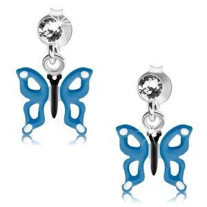 Cercei din argint 925, fluture albastru şi alb cu decupaje pe aripi, cristal imagine