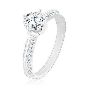 Inel de logodnă din argint 925, brațe strălucitoare, zirconiu rotund - Marime inel: 50 imagine