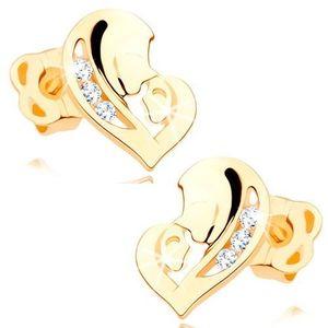 Cercei, aur galben 14K - inimă asimetrică formată din două fețe, zirconiu transparent imagine
