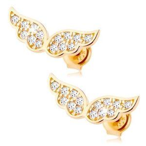 Cercei din aur 585 - aripi strălucitoare de înger încrustate cu zirconii transparente imagine