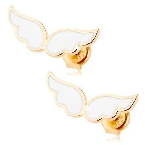 Cercei din aur 585 - aripi de înger împodobiți cu email alb, tije cu șurub imagine