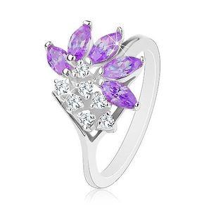 Inel de culoare argintie, zirconii transparente, boabe de culoare violet - Marime inel: 49 imagine