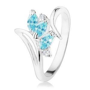 Inel strălucitor cu brațe curbate, bob lucios de culoare albastră, zirconii transparente - Marime inel: 50 imagine