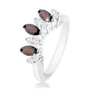 Inel lucios de culoare argintie, zirconii în formă de bob de culoare transparentă şi roşu închis - Marime inel: 53 imagine