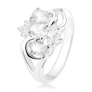 Inel strălucitor de culoare argintie, braţe despicate, zirconii ovale, transparente - Marime inel: 49 imagine