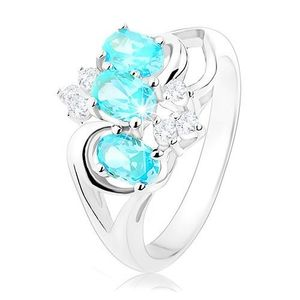 Inel de culoare argintie, zirconii transparente şi ovale de culoare bleu - Marime inel: 48 imagine