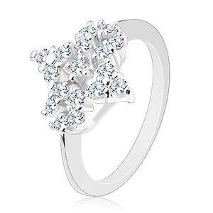 Inel de culoare argintie, floare din zirconii transparente, brațe înguste lucioase - Marime inel: 49 imagine