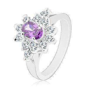 Inel de culoare argintie, zirconiu oval, violet cu margini transparente - Marime inel: 49 imagine