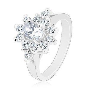 Inel de culoare argintie, zirconiu oval transparent cu margini transparente - Marime inel: 49 imagine