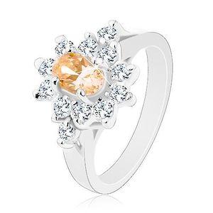 Inel de culoare argintie, zirconiu oval de culoare portocaliu deschis cu o margine din zirconii transparente - Marime inel: 49 imagine