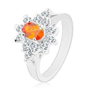 Inel de culoare argintie, zirconiu oval portocaliu cu margine transparentă - Marime inel: 49 imagine