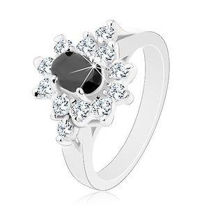 Inel lucios de culoare argintie, zirconiu negru, oval cu margini transparente - Marime inel: 49 imagine