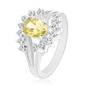 Inel de culoare argintie, zirconiu oval de culoare galbenă, arcadă transparentă - Marime inel: 49 imagine
